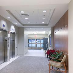Hallway view inside a pain management building.
